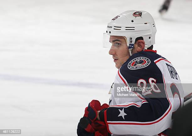 Corey Tropp of the Columbus Blue Jackets stretches prior to the game against the Colorado Avalanche at the Pepsi Center on January 4 2015 in Denver...