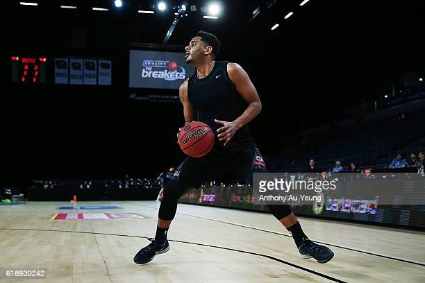 Corey Webster of New Zealand during warm up prior to the round four NBL match between the New Zealand Breakers and the Adelaide 36ers at North Shore...