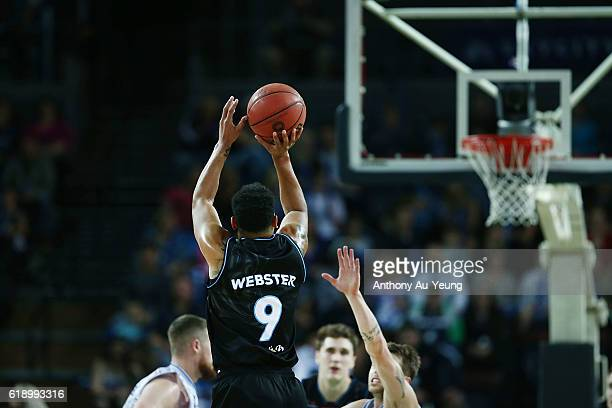 Corey Webster of New Zealand takes a three pointer during the round four NBL match between the New Zealand Breakers and the Adelaide 36ers at North...