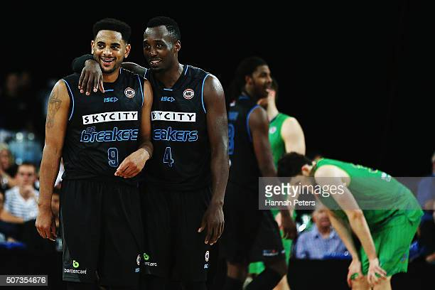 Corey Webster of the Breakers and Cedric Jackson of the Breakers celebrate after winning the Round 17 NBL match between the New Zealand Breakers and...