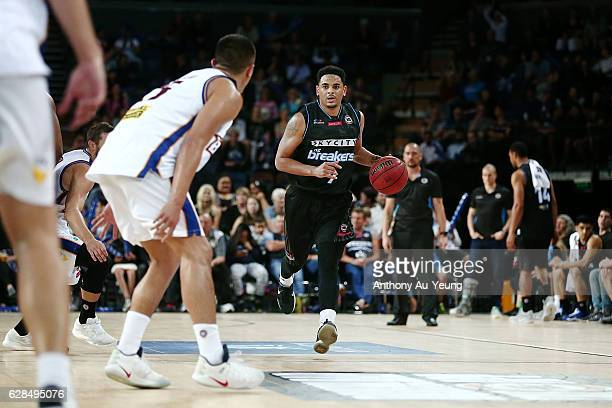 Corey Webster of the Breakers brings the ball up court during the round 10 NBL match between the New Zealand Breakers and the Brisbane Bullets at...
