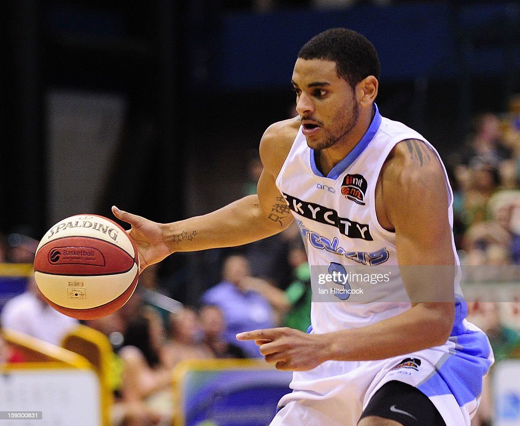 Corey Webster of the Breakers dribbles the ball during the round 14 NBL match between the Townsville Crocodiles and the New Zealand Breakers at Townsville Entertainment Centre on January 11, 2013 in Townsville, Australia.