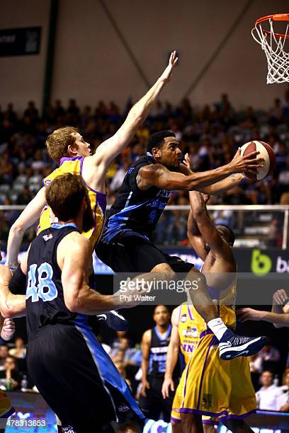 Corey Webster of the Breakers drives to the basket during the round 22 NBL match between the New Zealand Breakers and the Sydney Kings at North Shore...