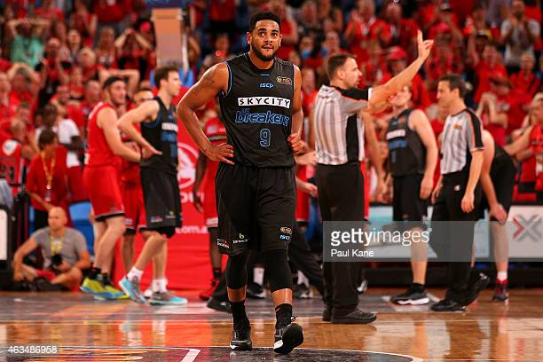 Corey Webster of the Breakers looks on after being fouled out of the game during the NBL round 19 game between the Perth Wildcats and New Zealand...