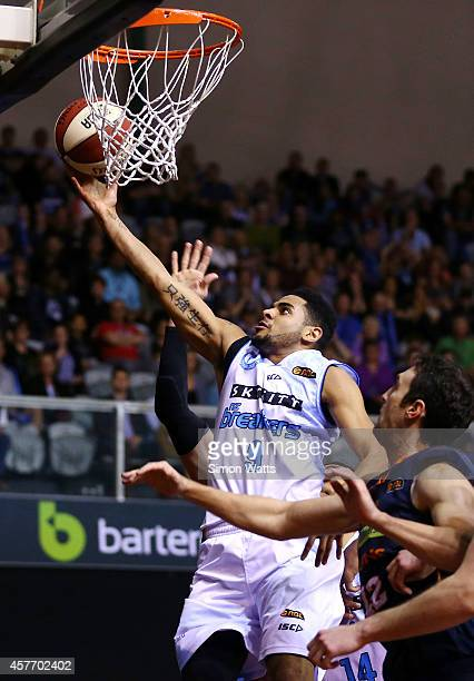 Corey Webster of The Breakers makes a layup during the round three NBL match between the New Zealand Breakers and the Cairns Taipans at North Shore...