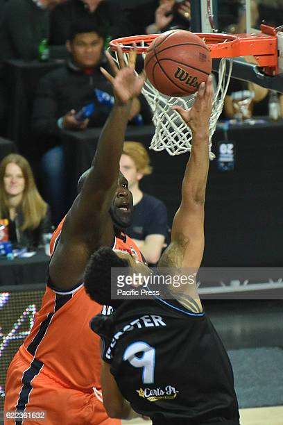 Corey Websterof Breakers puts up a shot against Nathan Jawai of Taipans during the round six NBL match between the New Zealand Breakers and the...