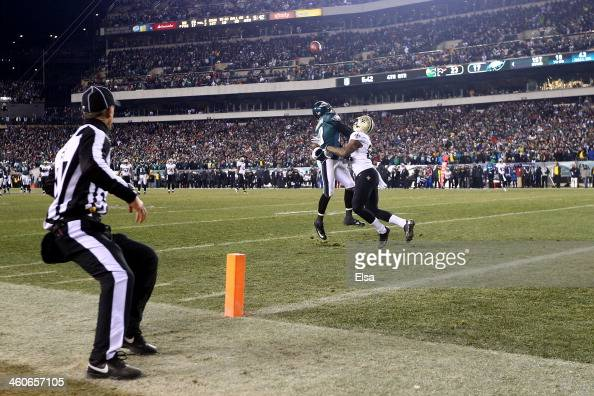 Corey White of the New Orleans Saints covers DeSean Jackson of the Philadelphia Eagles causing a 40 yard Defensive Pass Interference call in the...