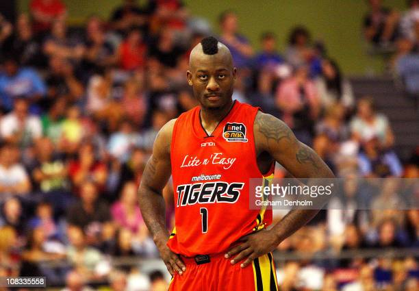 Corey Williams of the Tigers looks on during the round 16 NBL match between the Melbourne Tigers and the Sydney Kings at State Netball Hockey Centre...