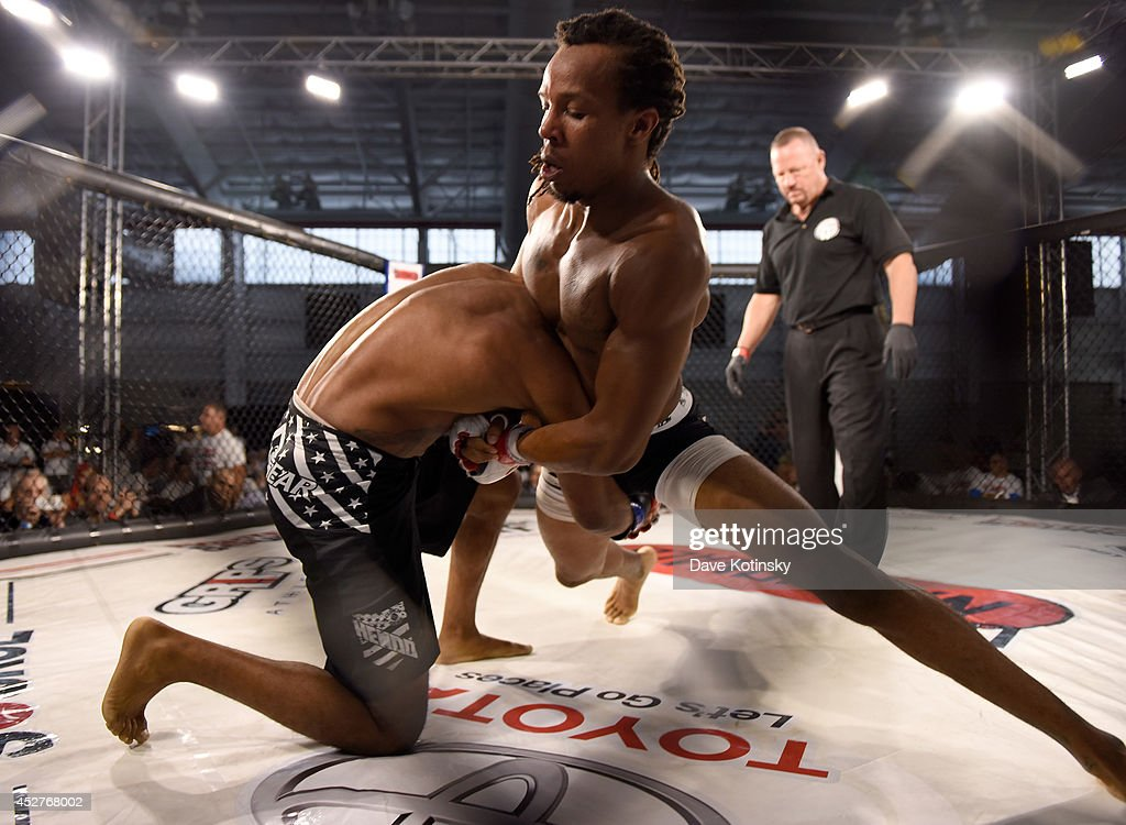 Corey Wilson grapples Joseph Boyett during Fighters Source An International Amateur Mixed Martial Arts League New York City MMA Fights During The MMA...
