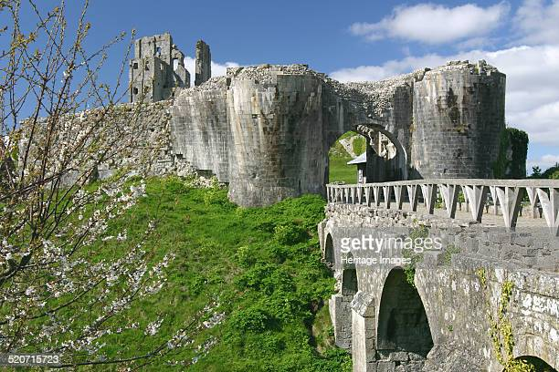 Corfe Castle Dorset View of the ruins of the castle destroyed by Parliamentarian forces in 1646 after its resistance to their siege during the...