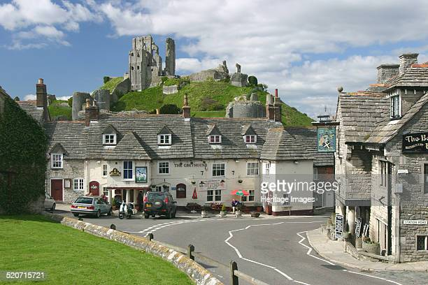 Corfe Castle Dorset View of the village and the ruins of the castle destroyed by Parliamentarian forces in 1646 after its resistance to their siege...