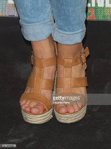 Corina Randazzo shoes detail attends MAC new trends party photocall at the Association of Architects on June 11 2015 in Madrid Spain