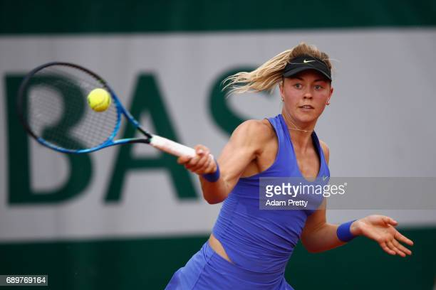 Corina Witthoeft of Germany plays a forehand during the ladies singles first round match against Lauren David of The United States on day two of the...