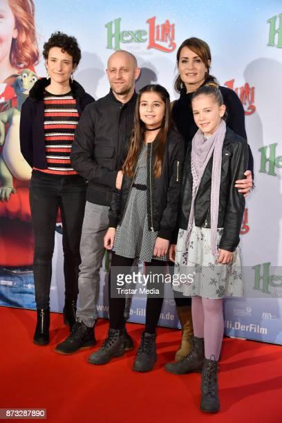 Corinna Mehner Juergen Vogel Anja Kling Hedda Erlebach and Aleyna Obid attend the premiere of 'Hexe Lilli rettet Weihnachten' at Kino in der...
