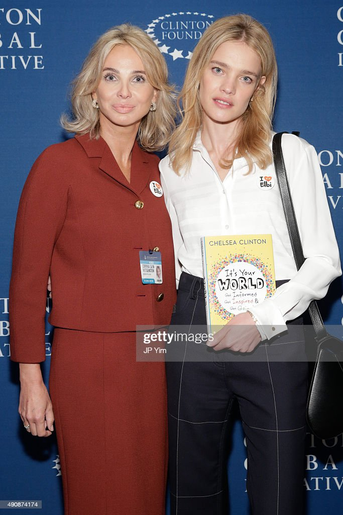 Corinna Sayn-Wittgenstein, Strategic Advisor at CGI and Philanthropist and model Natalia Vodianova pose for a photograph before the closing session at the Clinton Global Initiative 2015 at the Sheraton New York Times Square Hotel on September 29, 2015 in New York City. Vodianova will launch her new digital digital charity platform called ELBI.