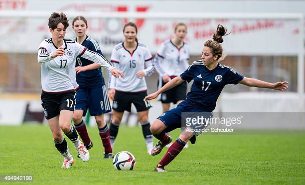 Corinna Statz of Germany challenges Elena SantoyoBrown of Scotland during the international friendly match between U15 Girl's Germany and U15 Girl's...