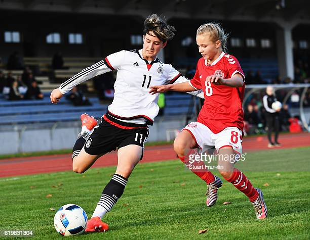 Corinna Statz of Germany is challenged by Josefine Hasbo of Denmark during the International Friendly match between U16 Girl's Germany and U16 Girl's...