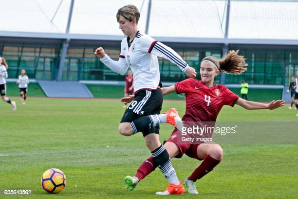 Corinna Statz of Germany U16 Girls challenges Joana Lourença of Portugal U16 Girls who makes a fault during the match between U16 Girls Portugal v...