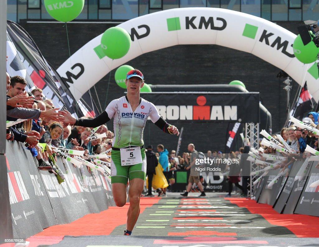 Corinne Abraham of Great Britain celebrates finishing second in the women's race at KMD IRONMAN Copenhagen on August 20, 2017 in Copenhagen, Denmark.