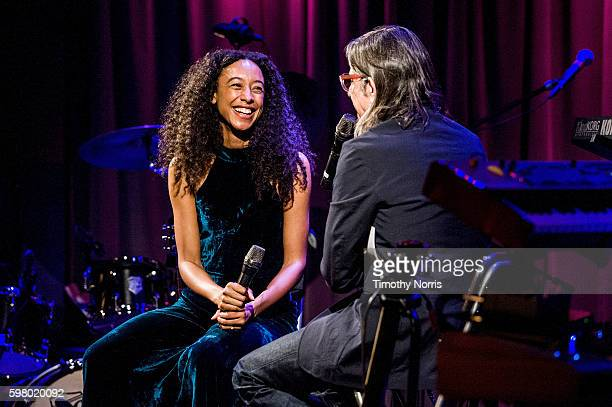 Corinne Bailey Rae and Scott Goldman speak at The GRAMMY Museum on August 30 2016 in Los Angeles California