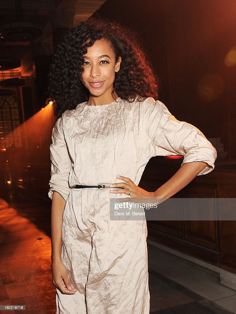 Corinne Bailey Rae attends the Universal Music Brits Party hosted by Bacardi at the Soho House pop-up on February 20, 2013 in London, England.