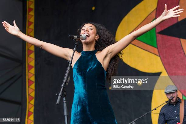Corinne Bailey Rae performs during the 2017 New Orleans Jazz Heritage Festival at Fair Grounds Race Course on May 4 2017 in New Orleans Louisiana