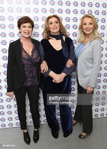 Corinne Clery Iva Zanicchi and Barbara Bouchet attend the 'Quelli Che Il Calcio' Tv Show on March 1 2015 in Milan Italy
