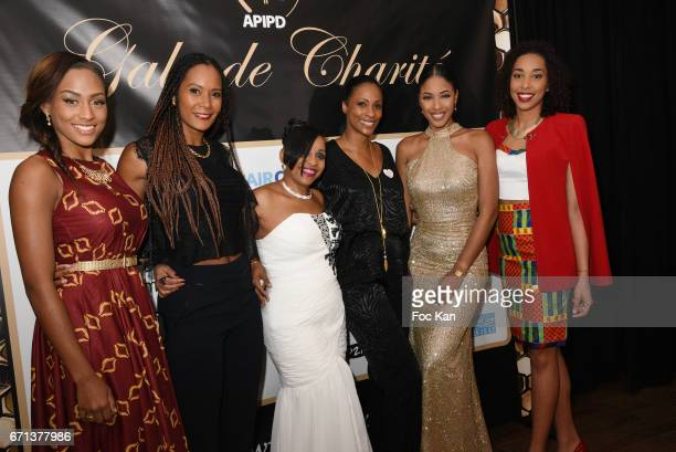 Corinne Coman Morgane Theresine APIPD president Jenny Hippocrate a guest Hyllen Legre and Chloe Mozar Miss guadeloupe 2014 attend APIPD Auction Gala...