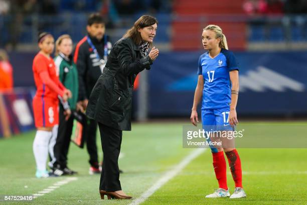 Corinne Diacre headcoach of France and Marion Torrent of France during the women's international friendly match between France and Chile at Stade...