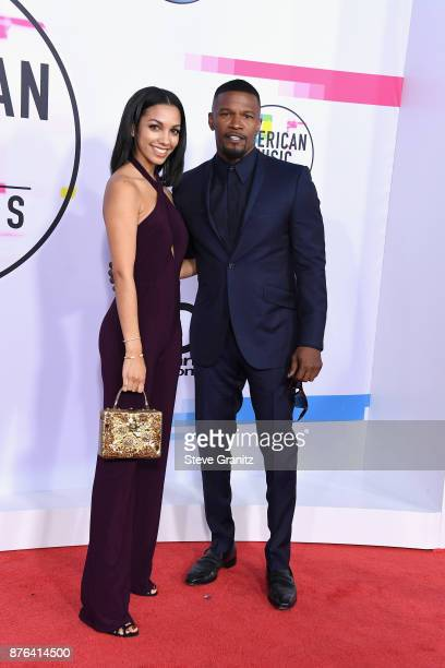 Corinne Foxx and Jamie Foxx attends the 2017 American Music Awards at Microsoft Theater on November 19 2017 in Los Angeles California