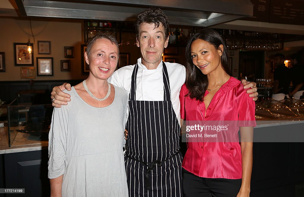 Corinne Gautier, Head Chef and owner Mark Gautier and <a gi-track='captionPersonalityLinkClicked' href=/galleries/search?phrase=Thandie+Newton&family=editorial&specificpeople=210812 ng-click='$event.stopPropagation()'>Thandie Newton</a> attend the launch party of Madame Gautier on August 22, 2013 in London, England.