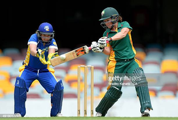 Corinne Hall of Tasmania plays a shot during the round one WNCL match between ACT and Tasmania at The Gabba on October 9 2015 in Brisbane Australia