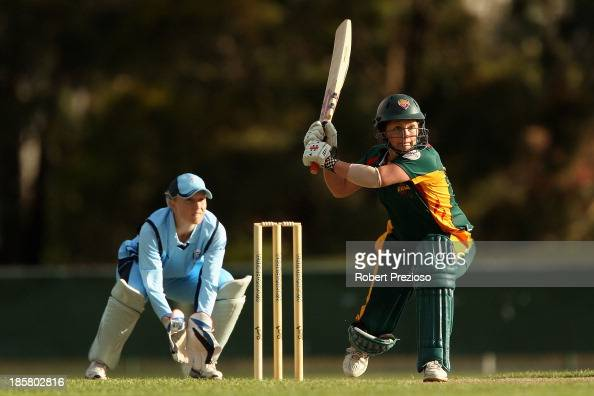 Corinne Hall of Tasmania plays a shot during the WT20 match between Tasmania and New South Wales at the NTCA Ground on October 25 2013 in Launceston...