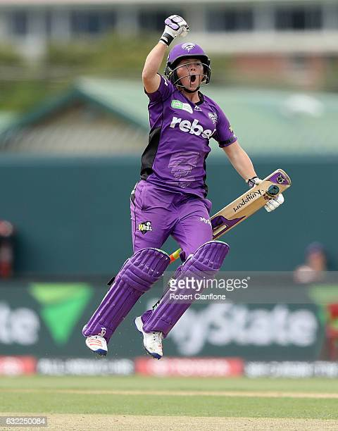 Corinne Hall of the Hurricanes celebrates scoring the winning runs during the Women's Big Bash League match between the Hobart Hurricanes and the...