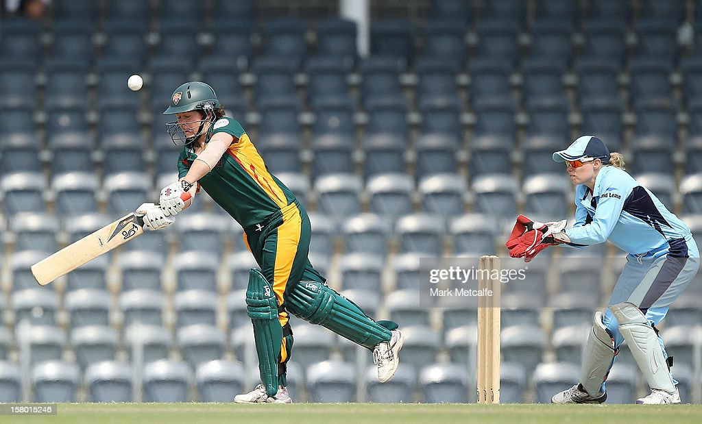 Corinne Hall of the Roar bats during the women's Twenty20 match between the New South Wales Breakers and the Tasmania Roar at Blacktown International Sportspark on December 9, 2012 in Sydney, Australia.