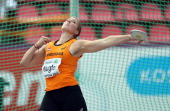 Corinne Nugter of Netherlands competes in the Final of the Women's Discus during day four of The European Athletics U23 Championships 2013 on July 14...