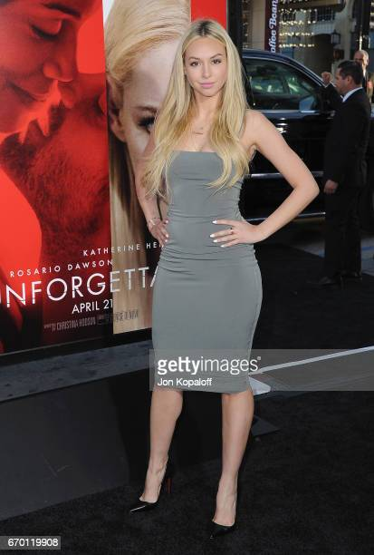 Corinne Olympios arrives at the Los Angeles Premiere 'Unforgettable' at TCL Chinese Theatre on April 18 2017 in Hollywood California