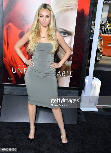 Corinne Olympios arrives at the Premiere Of Warner Bros Pictures' 'Unforgettable' at TCL Chinese Theatre on April 18 2017 in Hollywood California