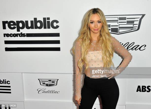 Corinne Olympios attends the VMA after party hosted by Republic Records and Cadillac at TAO restaurant at the Dream Hotel on August 27 2017 in Los...