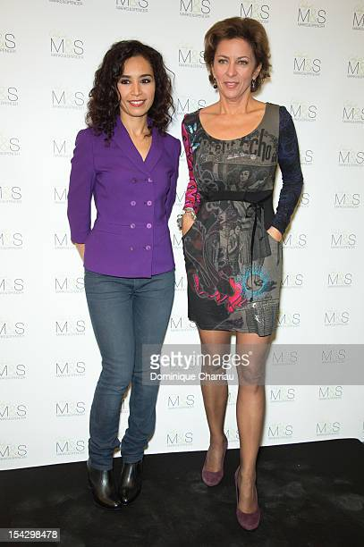 Corinne Touzet and Aida Touihri attend the MS Concept Store Opening At So Ouest Mall on October 17 2012 in LevalloisPerret France