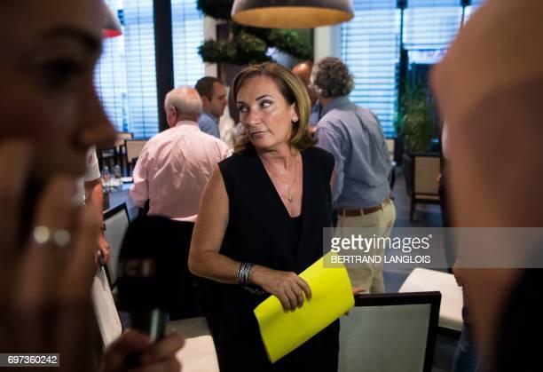 Corinne Versini candidate of 'La Republique en marche' party for the legislative election in the 4th district of the BouchesduRhone department reacts...