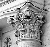 Capital of column of classical Corinthian order on the Triumphal Arch in Chisinau, Moldova