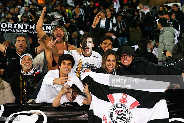 Corinthian fans celebrate victory during the FIFA Club World Cup Final Match between Corinthians and Chelsea at International Stadium Yokohama on...