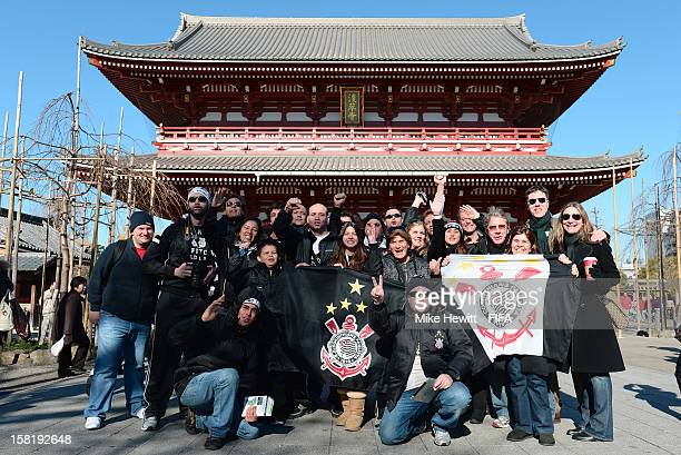 Corinthian fans turn up in force at the Sensoji Temple in Akasuka on December 11 2012 in Tokyo Japan