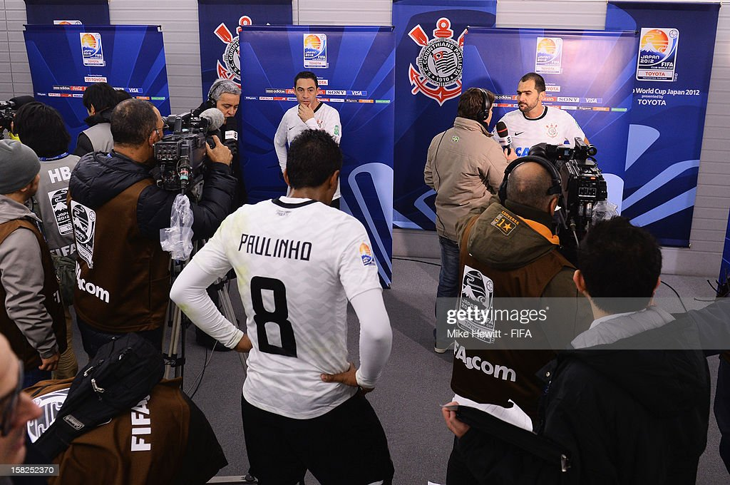 Corinthian players are interviewed in the tunnel after the FIFA Club World Cup Semi Final match between Al-Ahly SC and Corinthians at Toyota Stadium on December 12, 2012 in Toyota, Japan.
