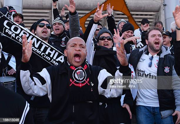 Corinthians fans make themselves heard prior to the FIFA Club World Cup Final Match between Corinthians and Chelsea at International Stadium Yokohama...