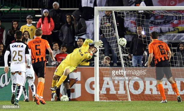 SC Corinthians goal keeper Cassio blocks a goal attempt by Ukraine side FC Shakhtar Donetsk during the second half of their Florida Cup game at the...