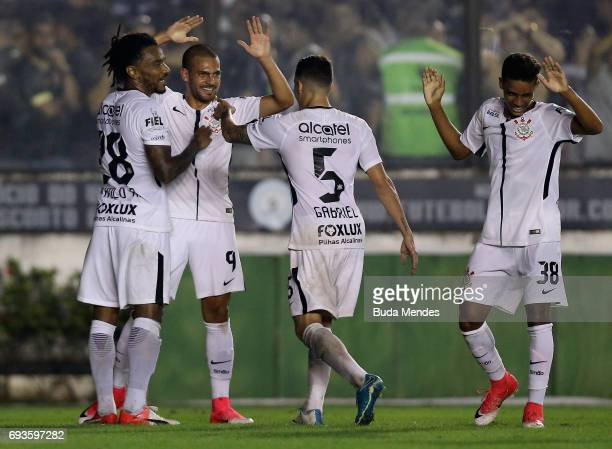 Corinthians players celebrate a goal against Vasco during a match between Vasco and Corinthians as part of Brasileirao Series A 2017 at Sao Januario...