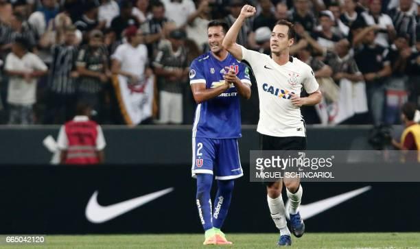 Corinthians Rodriguinho celebrates his goal against Universidad de Chile for the Sudamericana Cup at the Arena Corinthians Stadium in Sao Paulo...