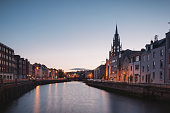 A View of Cork City in Ireland at night.
